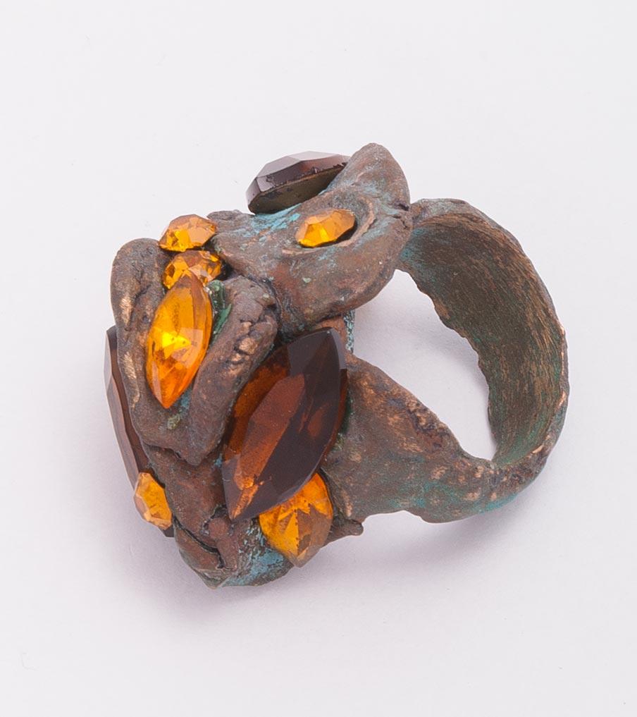 Brons met bruine stenen ring | Sieraad - Belinda Brama