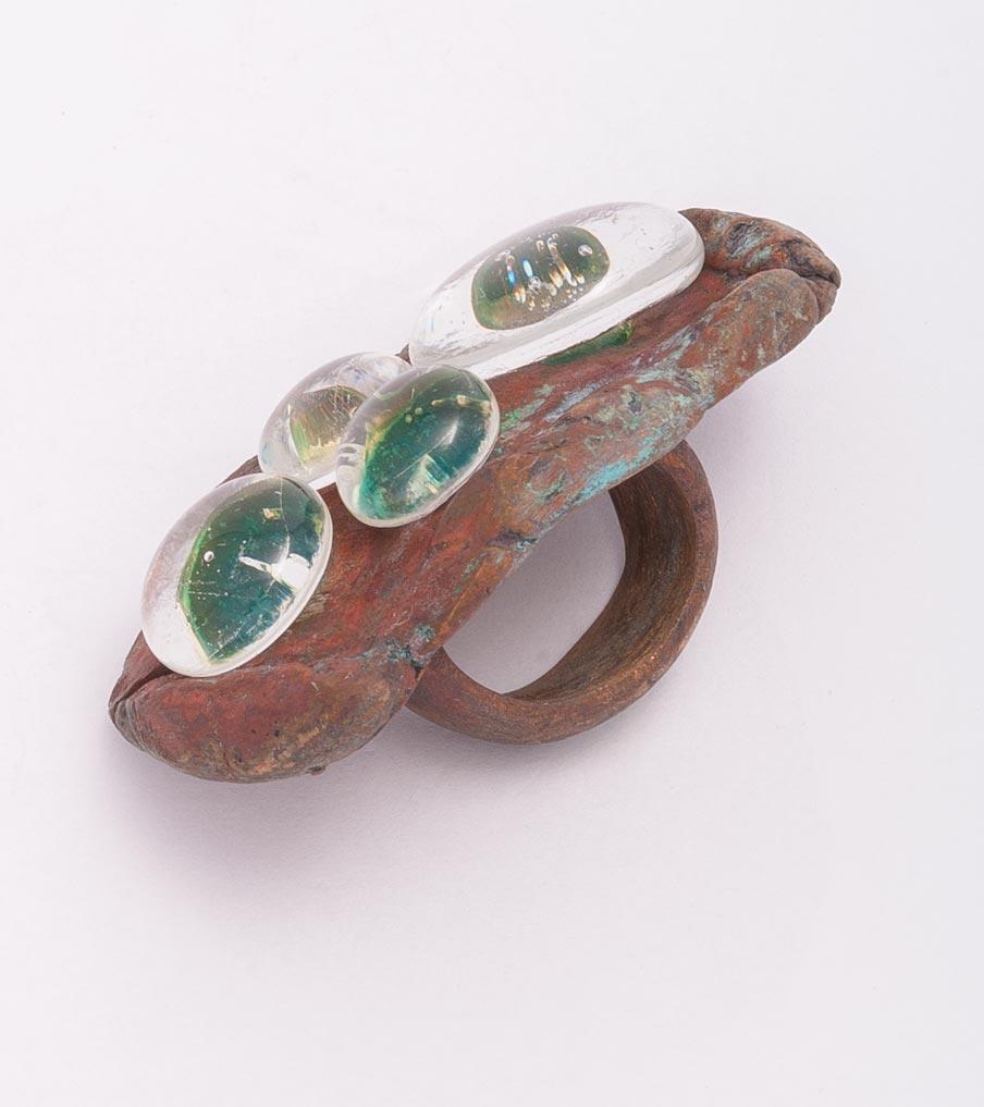 Brons glaswaterdruppels ring | Sieraad - Belinda Brama