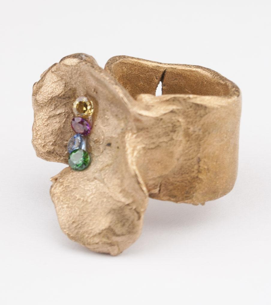 Bronze hartvorm gekleurde kristallen - brons - ring | Sieraad - Belinda Brama