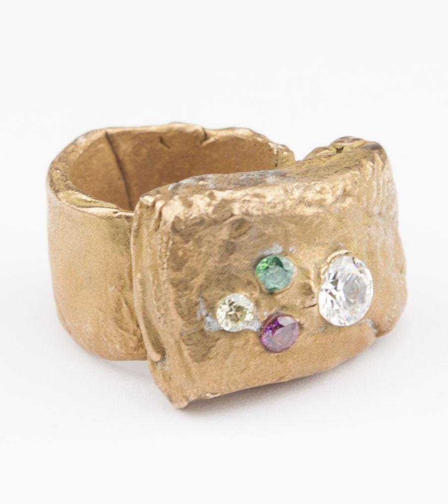 Bronze gekleurde kristallen - brons - ring | Sieraad - Belinda Brama