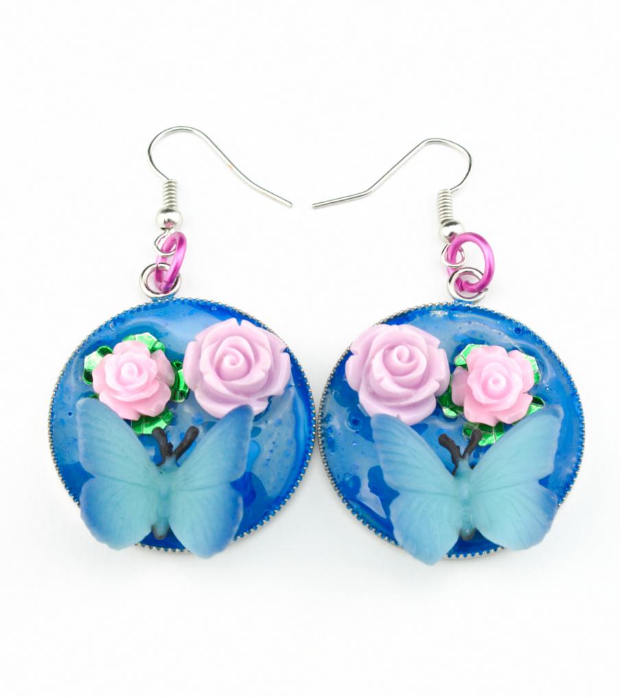 Butterfly Pink Roses - oorbellen | Sieraad - Belinda Brama