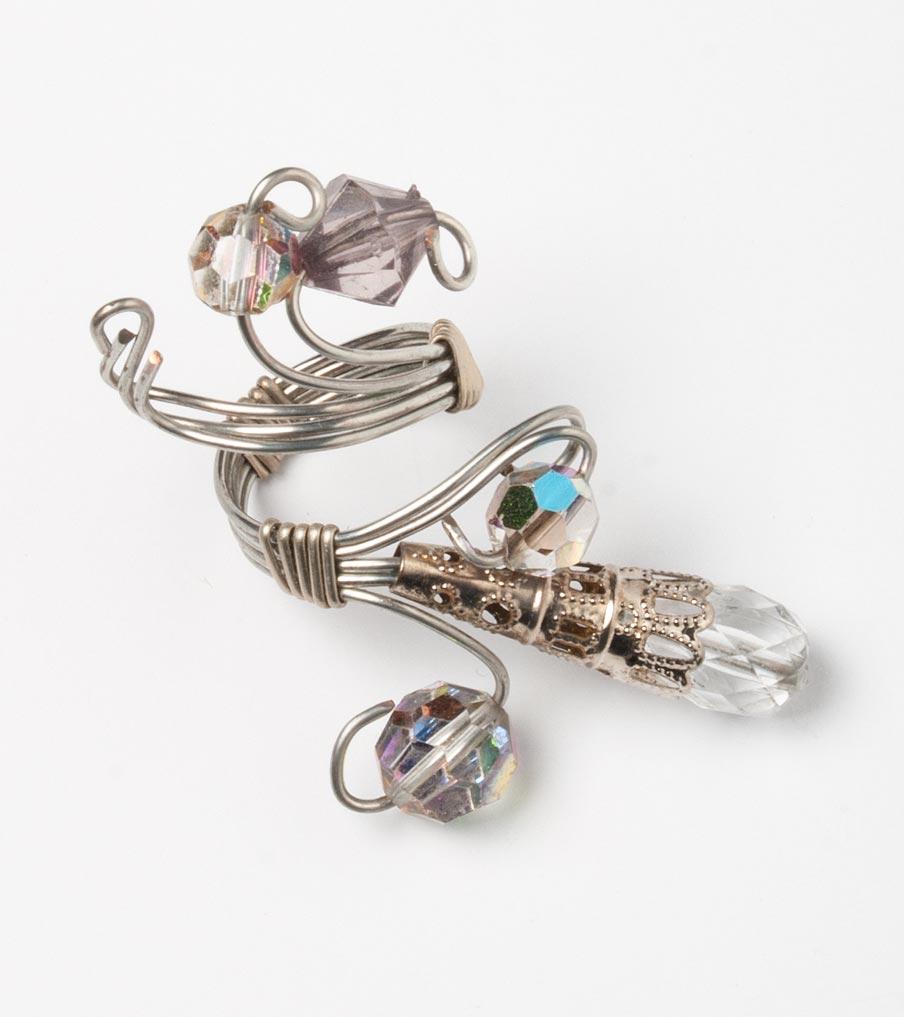 Bergkristal ring glas wirewrapping | Sieraad - Belinda Brama