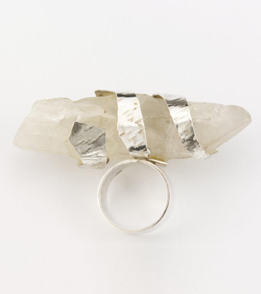 Witte kwarts - zilver - ring | Sieraad - Belinda Brama
