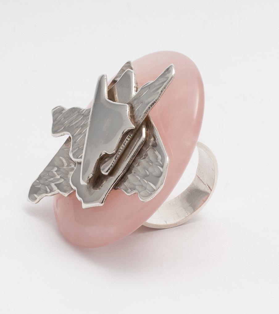 Verwisselbare ring rozenkwarts | Sieraad - Belinda Brama